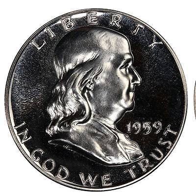 1959 Pr Franklin Half Dollar Proof Gem Bu Uncirculated Silver Coin Mint State Pf