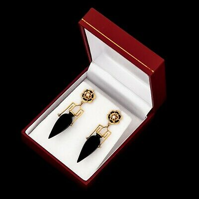 Antique Vintage Deco Retro 18k Gold ERTE Victorian Revival Onyx Pearl Earrings