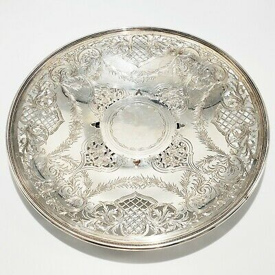 Antique Pierced & Engraved Sterling Plate Dish Tray Shreve Crump & Low