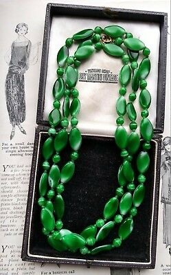 Vintage Art Deco Czech Green Apple Poured Glass Beads Long Flapper Necklace Gift