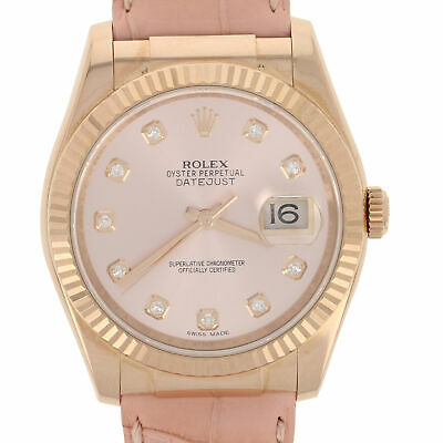 Rolex 116135 Oyster Datejust Factory Dial/Strap 18k Rose Gold Papers Warranty