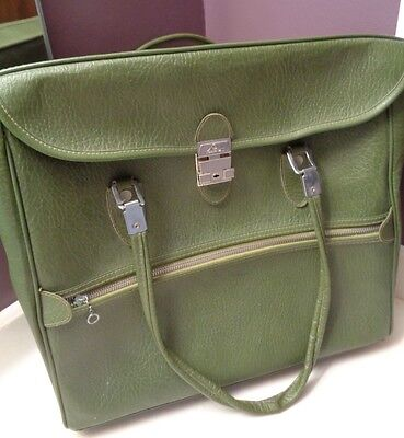 "Ventura avocado green tote bag suitcase vtge 15 x 14"" pockets inside silver tone"