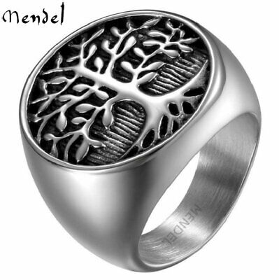 MENDEL Mens Stainless Steel Celtic Tree of Life Band Ring Black Silver Size 7-12