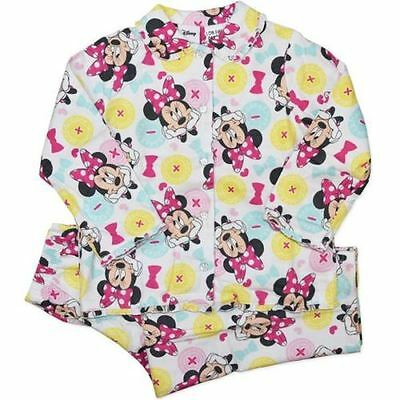 New Disney Minnie Mouse Girls White Cotton Flannel Pj Pyjamas Size 4,5,6