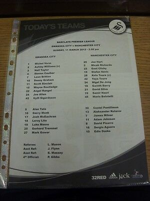 11/03/2012 Colour Teamsheet: Swansea City v Manchester City  . Thanks for viewin