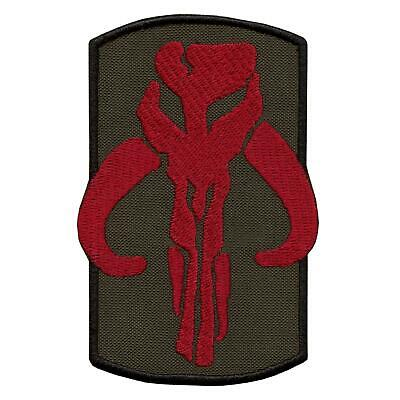 olive drab green mandalorian boba fett star wars embroidered starwars hook patch