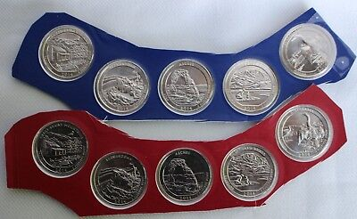 2014 P and D America the Beautiful BU Quarters 10 UNC ATB Coin Set Blister Pack