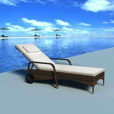 vidaXL Sunlounger with Wheels Poly Rattan Brown Wicker Reclining Chair Daybed