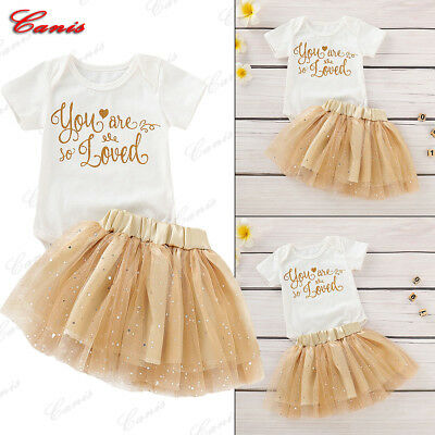 Newborn Baby Girl Valentine Clothes Short Sleeve Romper Top+Lace Dress Outfits
