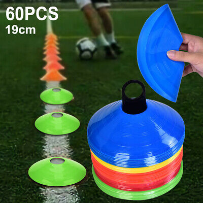 60pcs Fitness Exercise Sports Training Markers Discs Cones Soccer Rugby AU