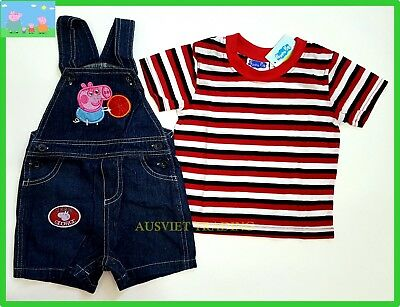 Peppa Pig George toddler overall denim romper kids boys 2pc outfit set size 1