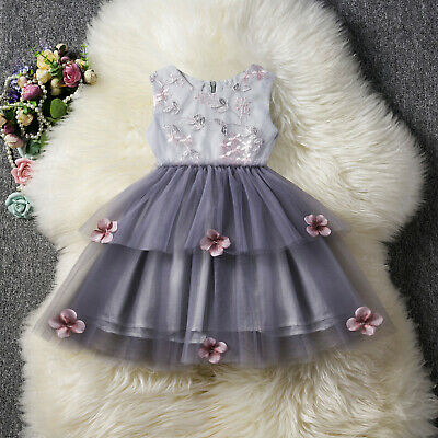 Kids Baby Girls Bridesmaid Dress Flower Girl Princess Party Wedding Dresses Gown