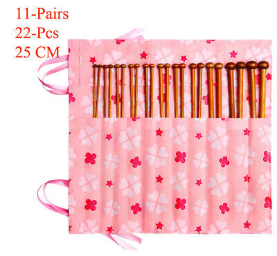 Set of 22 Pcs 11 Sizes Single Pointed Carbonized Bamboo Knitting Needles & Bag