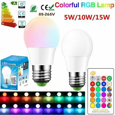 W28 5/10/15W Dimmable E27 RGB RGBW LED Light Bulb Color Changing Lamp + Remote
