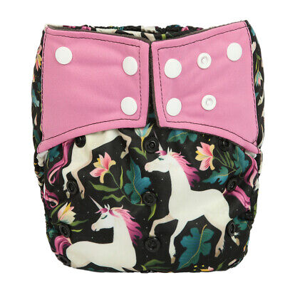 Baby Cloth Diaper Nappy Cover Bamboo Charcoal Reusable Gussets Unicorn Girls
