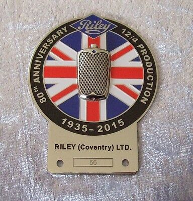 Car - Grille Badge - 80Th Anniversary Riley 12/4 Production 1935 - 2013 : 1 1/2