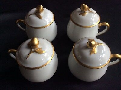 SET OF 4 Vintage / Antique Limoges France Gold Rose Pot De Creme Cups & Lids
