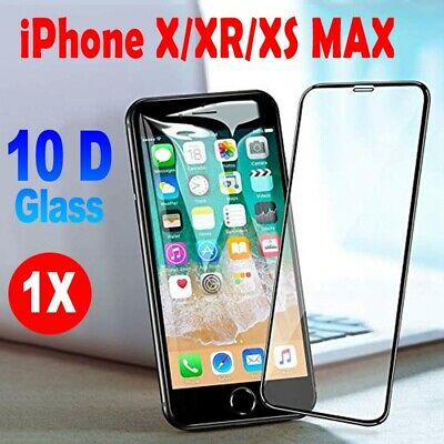 10D Curved Tempered Glass Screen Protector Guard For iPhone  X/XS 2019 UK