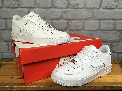 super popular cb7ac 9d48c Nike Air Force 1 Low Basketball White Leather Trainers Childrens Boys,Girls