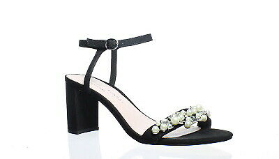 e75ed98ab07 Chinese Laundry Womens Rosetta Micro Sue Black Suede Ankle Strap Heels Size  7.5