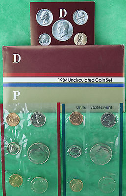 1984 P and D Annual US Mint UNC 10 Coin Set BU Philadelphia and Denver Coins
