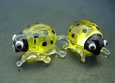 2 Tiny Glass LADYBIRDS Bugs Yellow Black Spotted Insects Glass Animal Ornaments