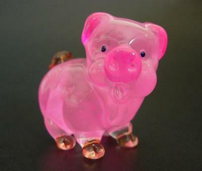 Cute Chubby Glass PIG PIGLET Pink Glass Animal Glass Ornament Curio Display Gift