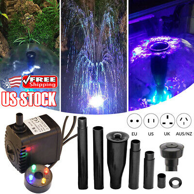 8W 600L/h Oxygen Pump Aquarium Fish Pond Submersible Water Pump With LED Light