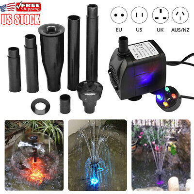 15W 1000L/h Aquarium Fish Tank Pond Filter Pump With LED Light Submersible Pump