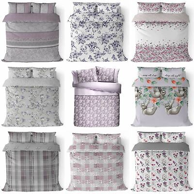 Heather Duvet Cover Lilac Purple Printed Cotton Quilt Set Bedding Covers Sets