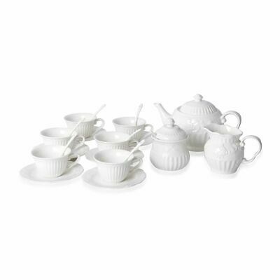 Art Deco-Set of 22 Flower Embossed Porcelain Tea Set Consists of 6 Cups
