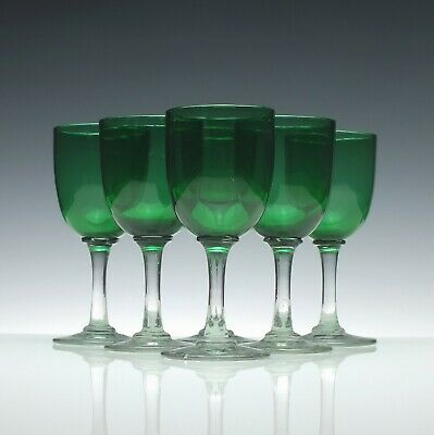 Set of Six Antique Victorian Green Wine Glasses c1870
