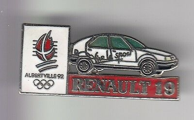 Rare Pins Pin's .. Olympique Olympic Albertville 1992 Auto Car Renault R19 ~17