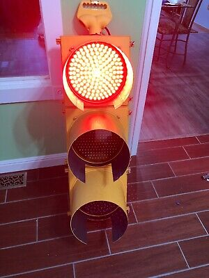 Retired Traffic Signal Light With Shades, LED Sequencer Bright Colors Extra Nice