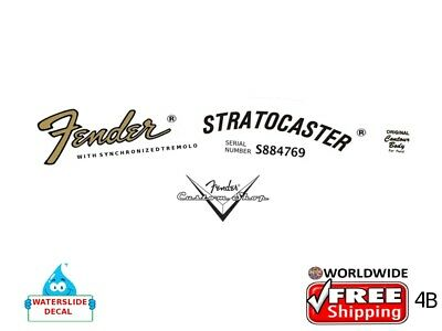 Fender Stratocaster Guitar Decal Headstock Inlay Decal Restoration Logo 4b