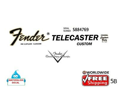 Fender Stratocaster Guitar Decal Headstock Inlay Decal Restoration Logo 5b