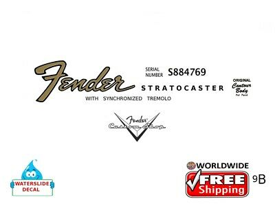 Fender Stratocaster Guitar Decal Headstock Inlay Decal Restoration Logo 9b