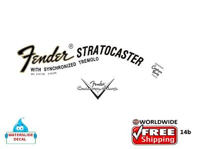 Fender Stratocaster Guitar Decal Headstock Inlay Decal Restoration Logo 14b