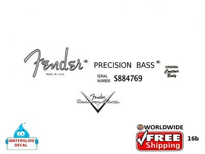 Fender Precision Bass Guitar Decal Headstock Inlay Decal Restoration Logo 16b