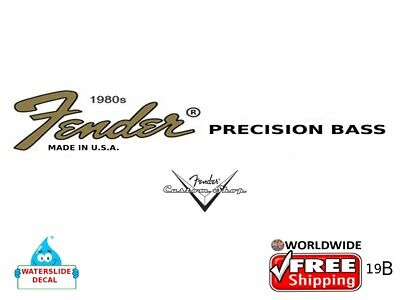 Fender Precision Bass Guitar Decal Headstock Inlay Decal Restoration Logo 19b