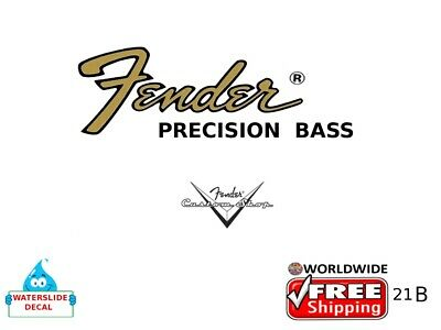 Fender Precision Bass Guitar Decal Headstock Inlay Decal Restoration Logo 21b