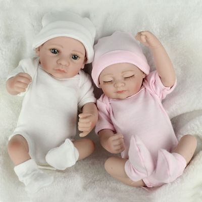 10'' Vinyl Silicone Reborn Baby Doll Girl+Boy Handmade Lifelike Dolls Twins US