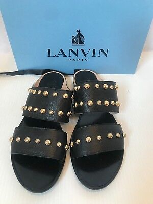 0ff151744b6 LANVIN size 40.5 black leather gold studded sandals 10 double band sandal
