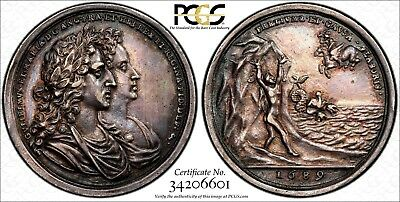 GREAT BRITAIN 1689 William III&Mary I Silver Coronation Medal by Bower PCGS AU