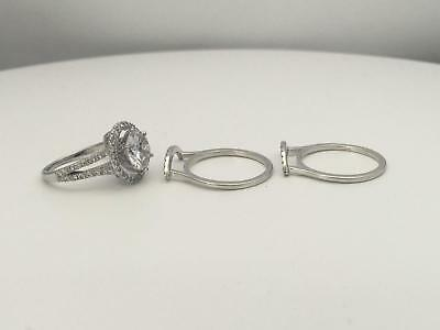 5.50 Ct D Vs1 Round Halo Diamond Ring W Matching Bands 14 K White Gold Nib