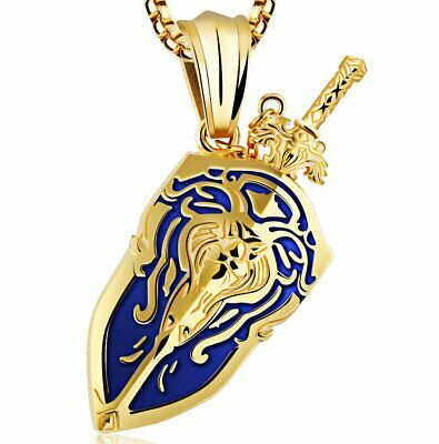 MENDEL Men's Stainless Steel Video Game Gold Lion Shield Sword Pendant Necklace