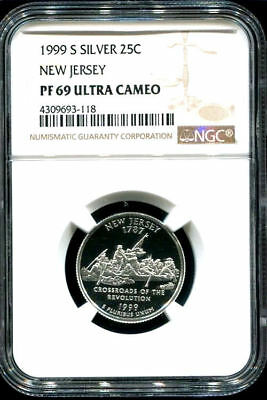 Silver 1999 S Ngc Pf69Ucam Pr69 Proof  New Jersey State Quarter Unc Coin#3541