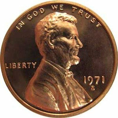 1971 S GEM BU PROOF Lincoln MemoriaL BRILLIANT UNCIRCULATED PENNY US COIN PF