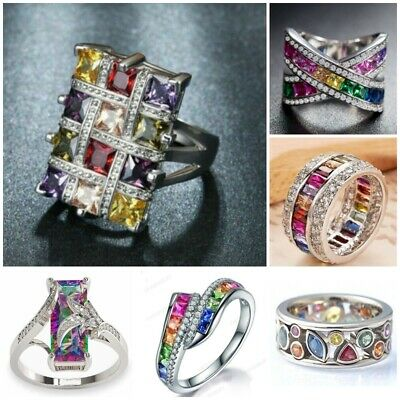 Fashion Luxury Women's Colourful Rhinestone Crystal Finger Dazzling Ring Jewelry