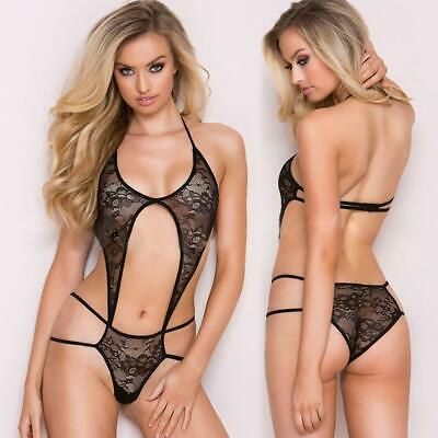 Womens Sexy Halter Backless Floral Lace Hollow Out One Piece Lingerie EN24H 01